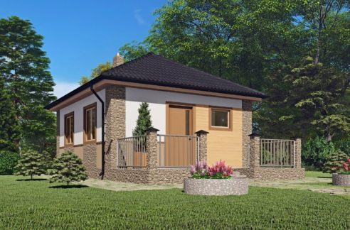 Одноэтажный каркасный дачный дом Шатрово
